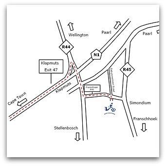 Map to Babylonstoren, Paarl Wine Route