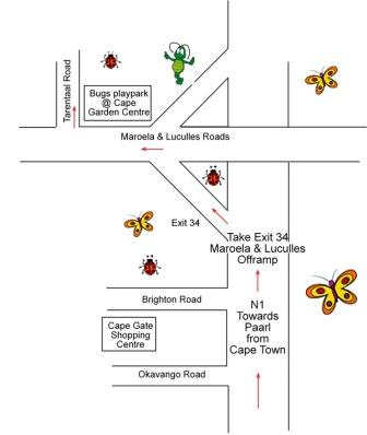 Map to get to Bugz Family Playpark, Cape Town