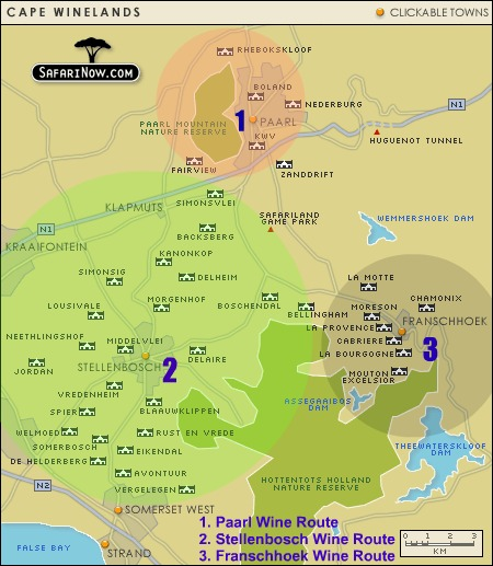 Cape Winelands Accommodation Map