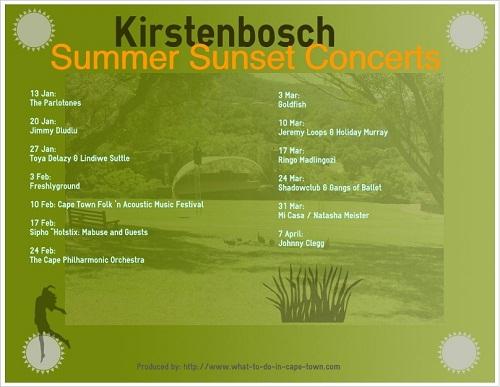 Summer Sunset Concerts 2013 at Kirstenbosch National Botanical Garden