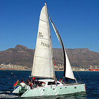 Catamaran Sailing in Table Bay, Cape Town