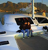 Catamaran Sailing in Table Bay, Cape Town