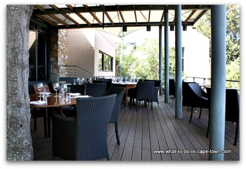 Outside seating at The Restaurant at Tokara Winery, Stellenbosch Wine Route